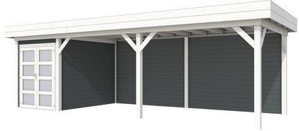 Blokhut Zwaluw met luifel 600, afm. 800 x 300 cm, plat dak, houtdikte 28 mm. - basis en deur wit, wand antraciet gespoten
