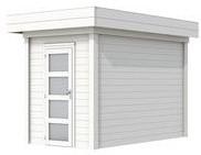 Blokhut Kiekendief, afm. 200 x 300 cm. plat dak, houtdikte 28 mm. - volledig wit gespoten