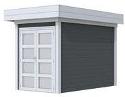 Blokhut Zwaluw, afm. 200 x 300 cm, houtdikte 28 mm, plat dak - basis en deur grijs, wand antraciet gespoten