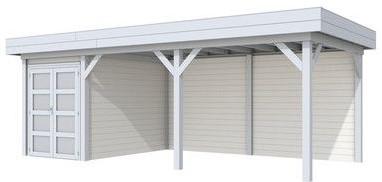 Blokhut Zwaluw met luifel 500, afm. 700 x 300 cm, plat dak, houtdikte 28 mm. - basis en deur grijs, wand wit gespoten