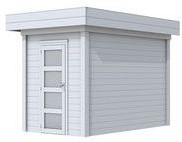Blokhut Kiekendief, afm. 200 x 300 cm. plat dak, houtdikte 28 mm. - volledig grijs gespoten