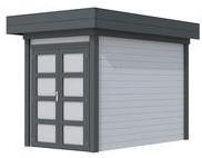 Blokhut Zwaluw, afm. 200 x 300 cm, houtdikte 28 mm, plat dak - basis en deur antraciet, wand grijs gespoten