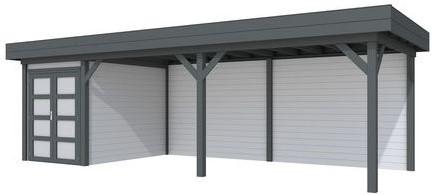 Blokhut Zwaluw met luifel 600, afm. 800 x 300 cm, plat dak, houtdikte 28 mm. - basis en deur antraciet, wand grijs gespoten
