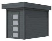 Blokhut Kiekendief, afm. 200 x 300 cm. plat dak, houtdikte 28 mm. - volledig antraciet gespoten