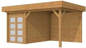 Blokhut Zwaluw met luifel 400, afm. 600 x 300 cm, plat dak, houtdikte 28 mm,  - bruin geïmpregneerd