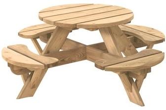 Kinderpicknicktafel Jimmy, rond afm. Ø 63 cm, geimpregneerd grenen
