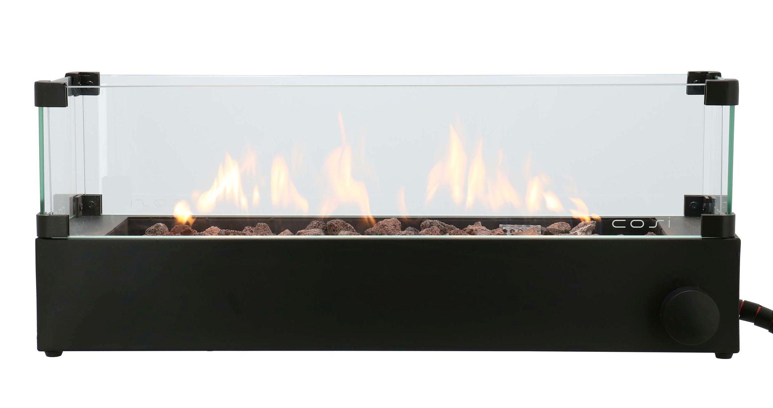 Cosi Fires vuurtafels en gaslantaarns Cosi Fires opzetbrander Cosiburner, build up incl. glasset, afm. 70 x 20 cm, hoogte 27 cm, vermogen 9kW