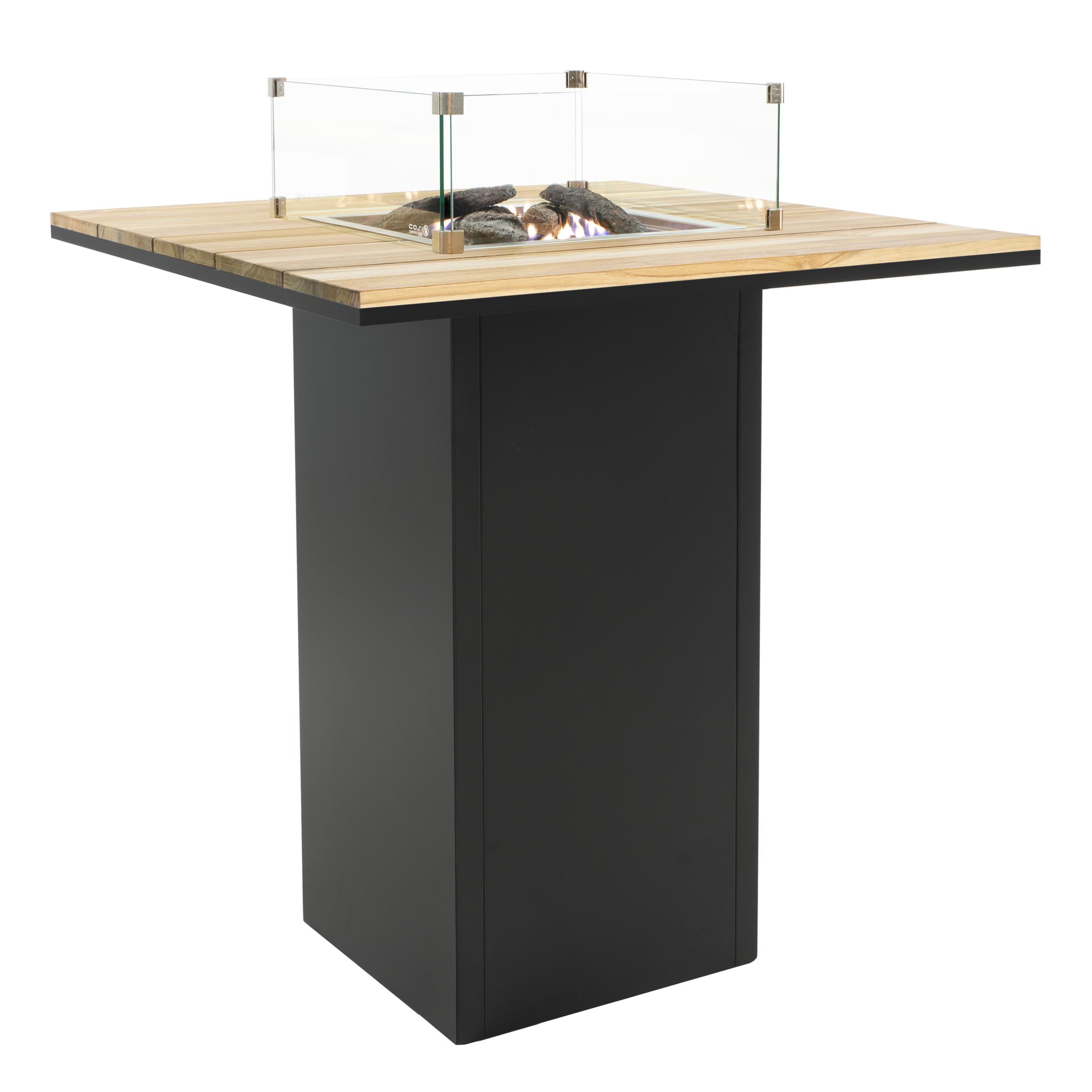 Cosi Fires vuurtafels en gaslantaarns Cosi Fires bartafel/vuurtafel Cosiloft Simple black frame, teak top, afm. 100 x 100 x 105