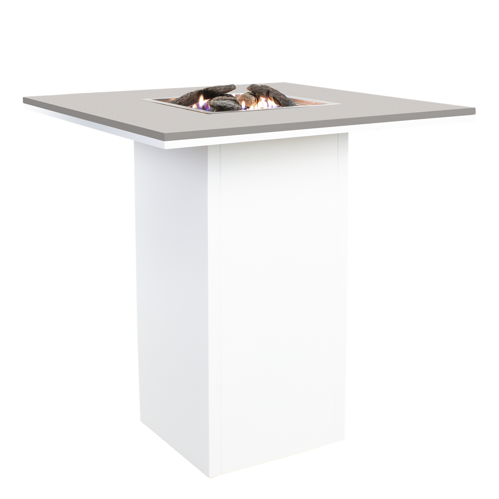 Cosi Fires vuurtafels en gaslantaarns Cosi Fires bartafel/vuurtafel Cosiloft Simple, white frame, grey top, afm. 100 x 100 x 105
