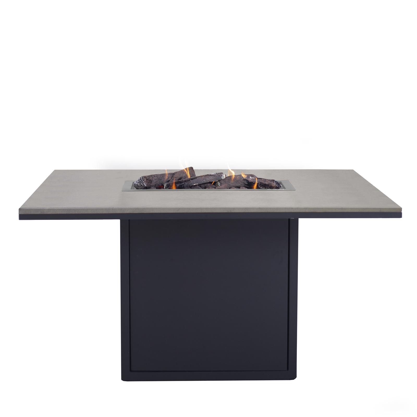 Cosi Fires vuurtafels en gaslantaarns Cosi Fires high dining tafel/vuurtafel Cosiloft, afm. 120 x 80 x 70 cm, zwart met grijs blad