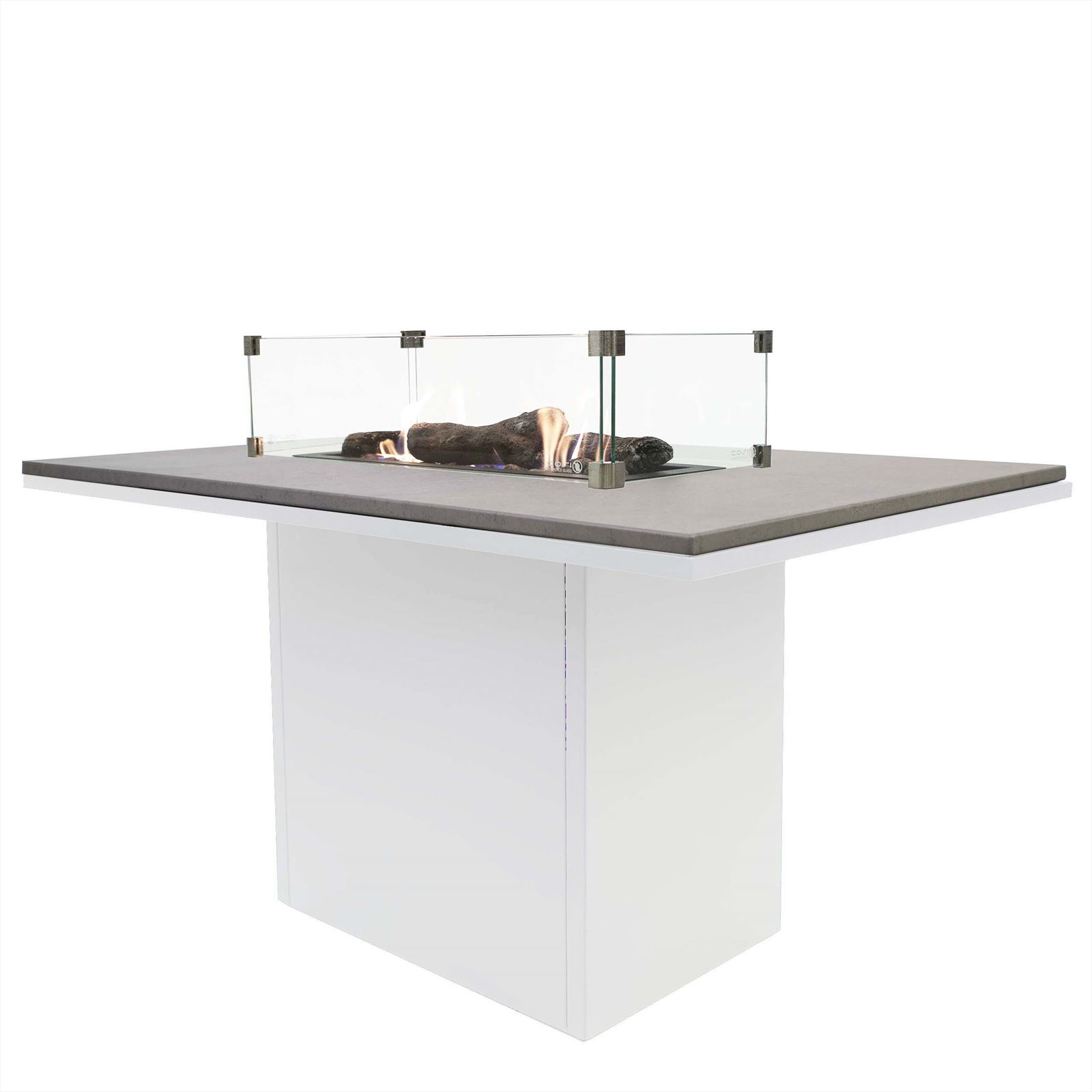 Cosi Fires vuurtafels en gaslantaarns Cosiloft relax dining vuurtafel, white frame, grey top, afm. 120 x 80 x 67 cm