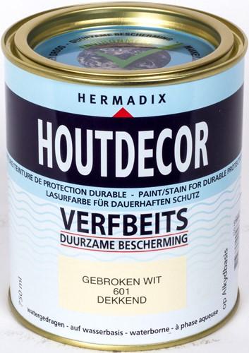 Hermadix houtdecor verfbeits, dekkend, nr. 601 gebroken wit, blik 0,75 liter