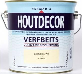 Hermadix houtdecor verfbeits, dekkend, nr. 601 gebroken wit, blik 2,5 liter