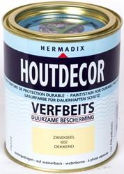 Hermadix houtdecor verfbeits, dekkend, nr. 602 zandgeel, blik 0,75 liter
