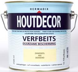Hermadix houtdecor verfbeits, dekkend, nr. 602 zandgeel, blik 2,5 liter