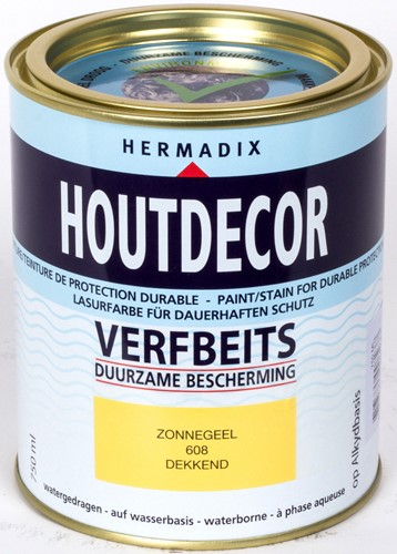 Hermadix houtdecor verfbeits, dekkend, nr. 608 zonnegeel, blik 0,75 liter