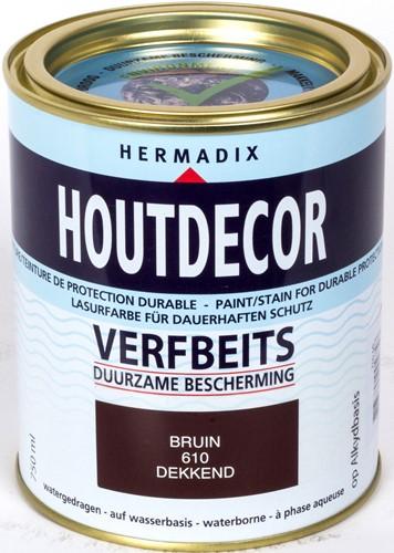 Hermadix houtdecor verfbeits, dekkend, nr. 610 bruin, blik 0,75 liter
