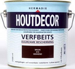Hermadix houtdecor verfbeits, dekkend, nr. 610 bruin, blik 2,5 liter