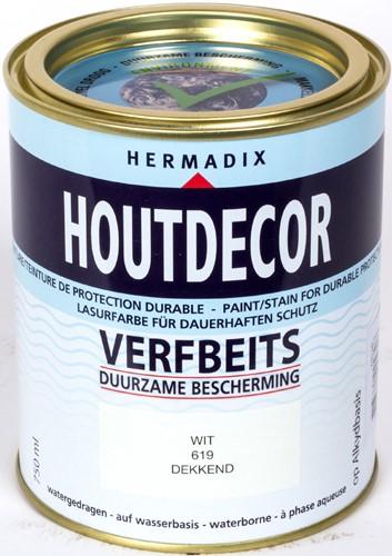 Hermadix houtdecor verfbeits, dekkend, nr. 619 wit, blik 0,75 liter