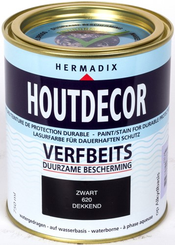 Hermadix houtdecor verfbeits, dekkend, nr. 620 zwart, blik 0,75 liter