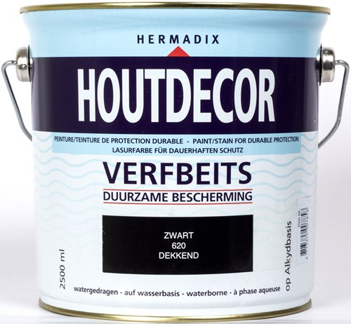 Hermadix houtdecor verfbeits, dekkend, nr. 620 zwart, blik 2,5 liter