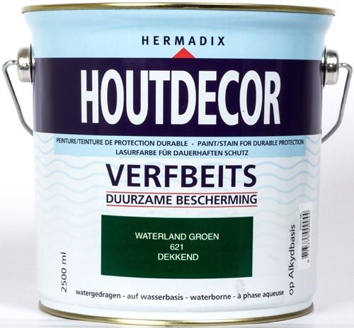 Hermadix houtdecor verfbeits, dekkend, nr. 621 waterland groen, blik 2,5 liter