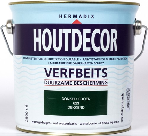 Hermadix houtdecor verfbeits, dekkend, nr. 623 donkergroen, blik 2,5 liter