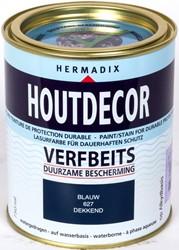 Hermadix houtdecor verfbeits, dekkend, nr. 627 blauw, blik 0,75 liter