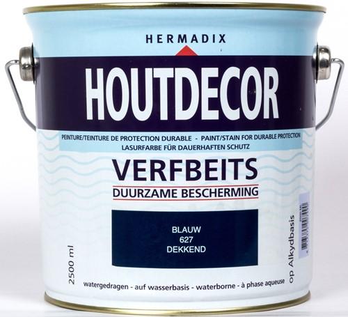 Hermadix houtdecor verfbeits, dekkend, nr. 627 blauw, blik 2,5 liter