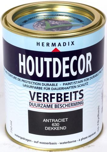 Hermadix houtdecor verfbeits, dekkend, nr. 630 antraciet, blik 0,75 liter