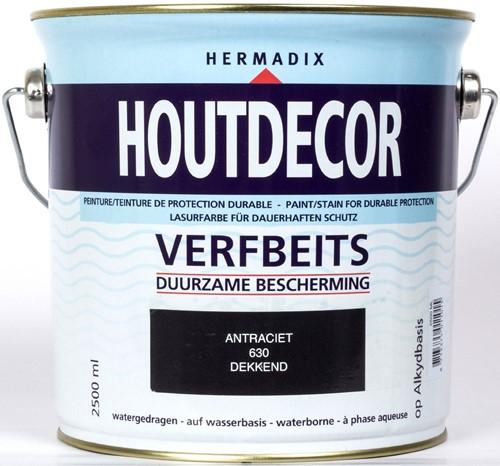 Hermadix houtdecor verfbeits, dekkend, nr. 630 antraciet, blik 2,5 liter