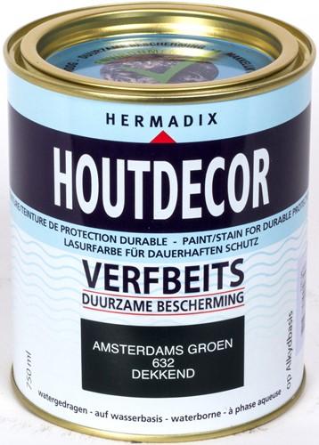 Hermadix houtdecor verfbeits, dekkend, nr. 632 Amsterdams groen, blik 0,75 liter