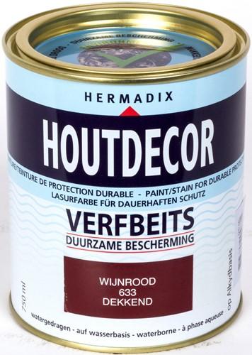 Hermadix houtdecor verfbeits, dekkend, nr. 633 wijnrood, blik 0,75 liter