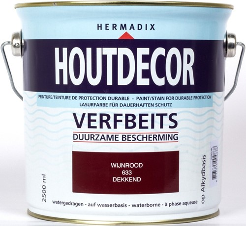 Hermadix houtdecor verfbeits, dekkend, nr. 633 wijnrood, blik 2,5 liter