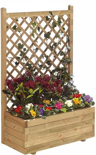 Woodvision houten bloembak met rechttrellis, afm.  90 x 30 x 140 cm geimpregneerd vuren