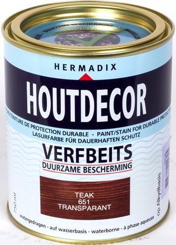 Hermadix houtdecor verfbeits, transparant, nr. 651 teak, blik 0,75 liter