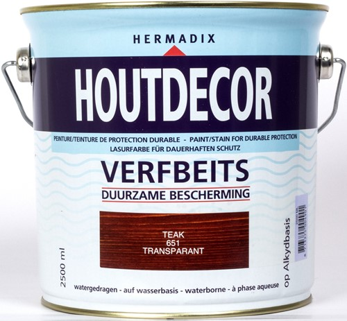 Hermadix houtdecor verfbeits, transparant, nr. 651 teak, blik 2,5 liter