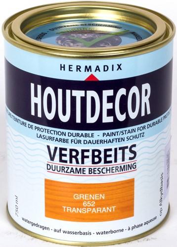 Hermadix houtdecor verfbeits, transparant, nr. 652 grenen, blik 0,75 liter