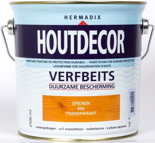 Hermadix houtdecor verfbeits, transparant, nr. 652 grenen, blik 2,5 liter