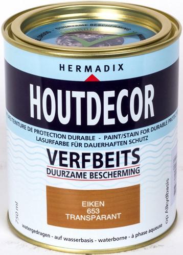 Hermadix houtdecor verfbeits, transparant, nr. 653 eiken, blik 0,75 liter