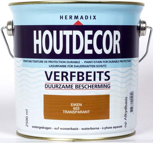 Hermadix houtdecor verfbeits, transparant, nr. 653 eiken, blik 2,5 liter