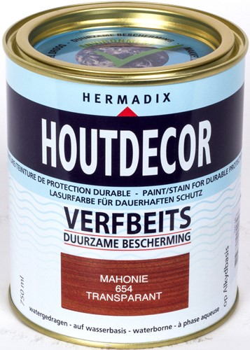 Hermadix houtdecor verfbeits, transparant, nr. 654 mahonie, blik 0,75 liter