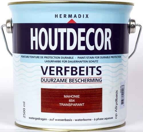 Hermadix houtdecor verfbeits, transparant, nr. 654 mahonie, blik 2,5 liter