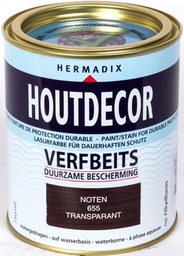 Hermadix houtdecor verfbeits, transparant, nr. 655 noten, blik 0,75 liter