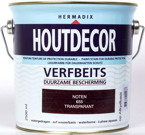 Hermadix houtdecor verfbeits, transparant, nr. 655 noten, blik 2,5 liter