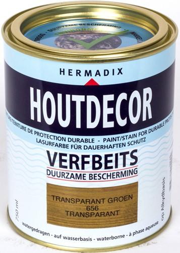 Hermadix houtdecor verfbeits, transparant, nr. 656 groen, blik 0,75 liter