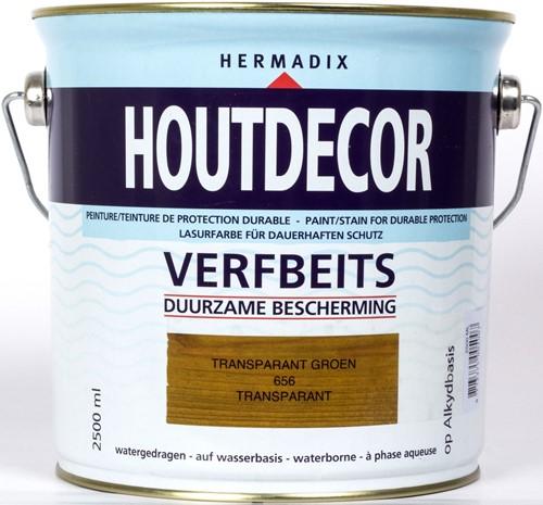 Hermadix houtdecor verfbeits, transparant, nr. 656 groen, blik 2,5 liter