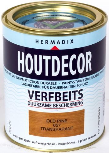 Hermadix houtdecor verfbeits, transparant, nr. 657 old pine, blik 0,75 liter