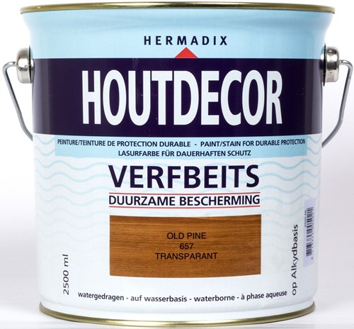 Hermadix houtdecor verfbeits, transparant, nr. 657 old pine, blik 2,5 liter