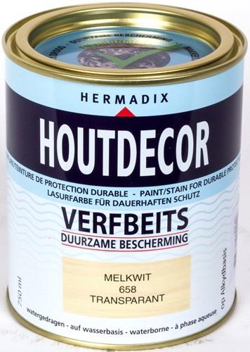 Hermadix houtdecor verfbeits, transparant, nr. 658 melkwit, blik 0,75 liter